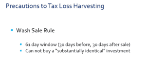 wash sale rules around tax loss harvesting