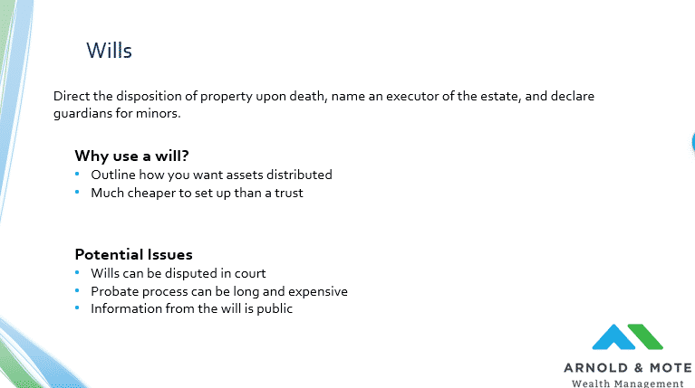purpose of a will in an estate plan. pros and cons of a will