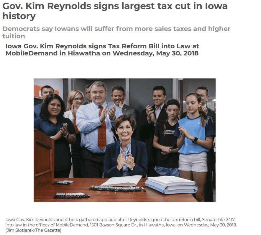 Iowa new tax law signed 2018