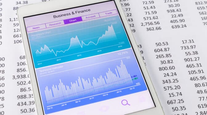stock chart on tablet